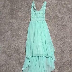 Teal High Low Racerback Dress
